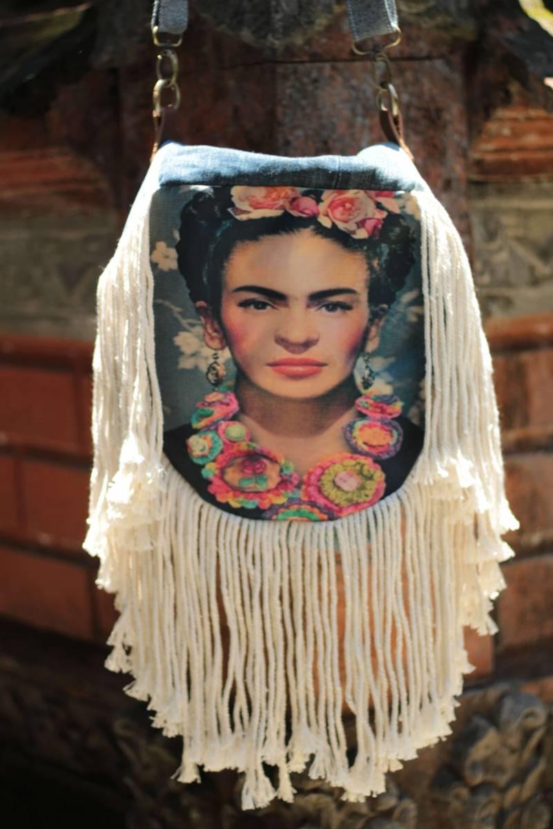 Frida Kahlo Handtasche Rund Boho Ibiza Style