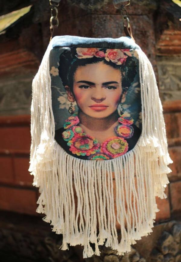 Handmade Tasche Frida Kahlo Recyceltem Jeans mit Fransen