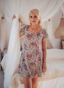 Hippie Kleid Kurzarm Mintgrün Boteh Blumenmuster