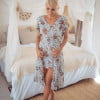 Dress front short back long cut-out midi dress white boteh pattern