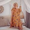 Kurzes Cut Out Kleid Gelb Asymmetrisch mit Boteh Muster