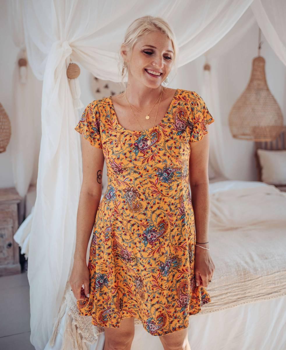 Kurzes Sommerkleid Gelb Boteh Muster Babydoll Kleid Hippie Style
