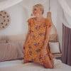 Kurzes Sommerkleid Gelb Boteh Muster Hippie Style