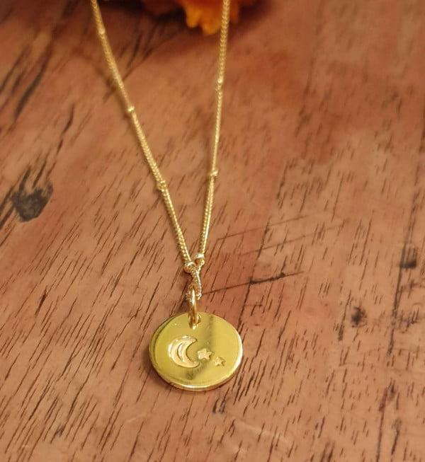 Mond & Sterne Anhänger Boho Halskette vergoldet 22 Karat Vergoldetes Silber 925