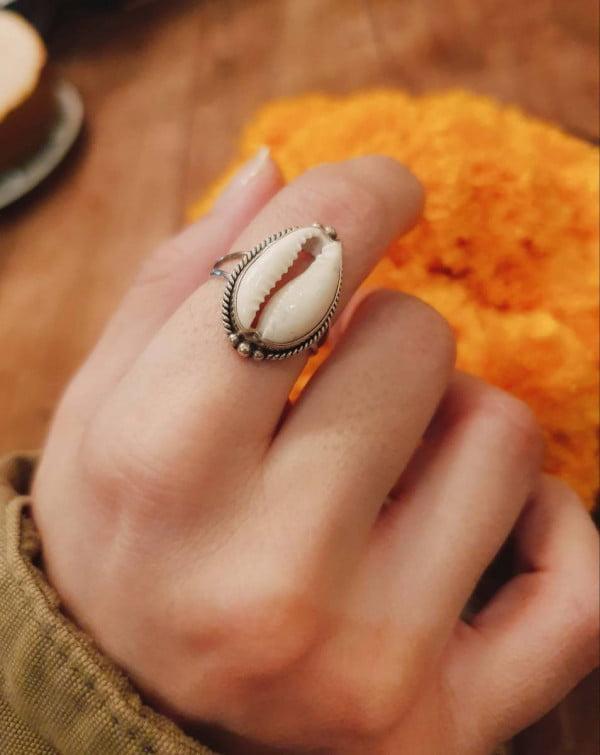 Ring Kauri Muschel 925 Silber aus Bali handgefertigt Boho Style