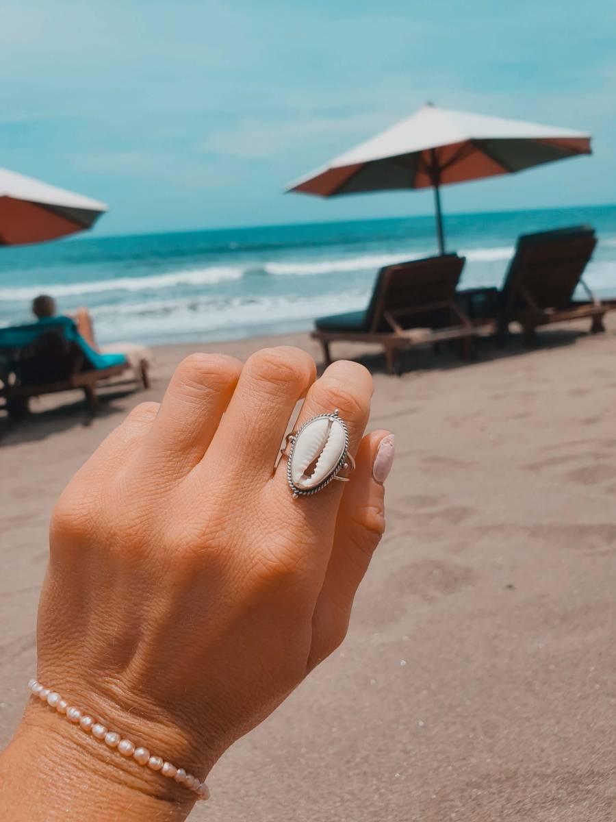 Ring Kauri Muschel 925 Silber aus Bali handgefertigt Silberring Muschel