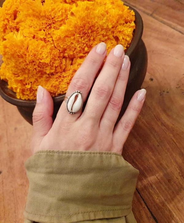 Ring Kauri Muschel 925 Silber aus Bali handgefertigt Sommerschmuck Ibiza Style