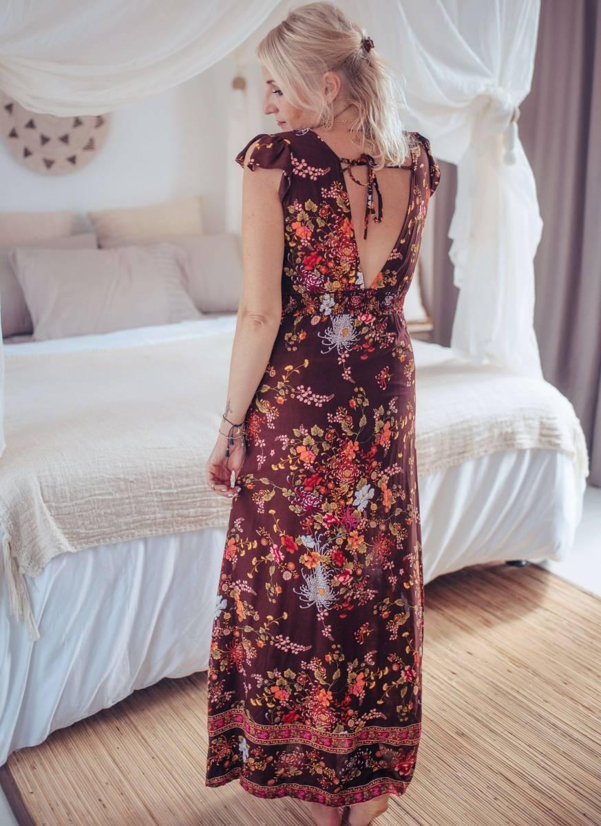 Rückenfreies Sommerkleid Lang Dunkelbraun