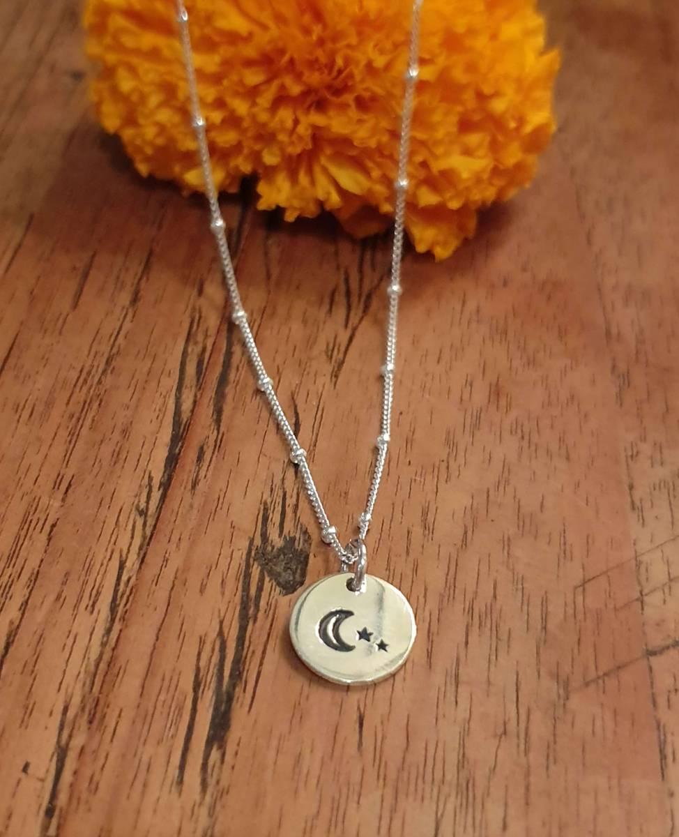Silberkette Mond und Stern Anhänger 925 Silber Boho Schmuck