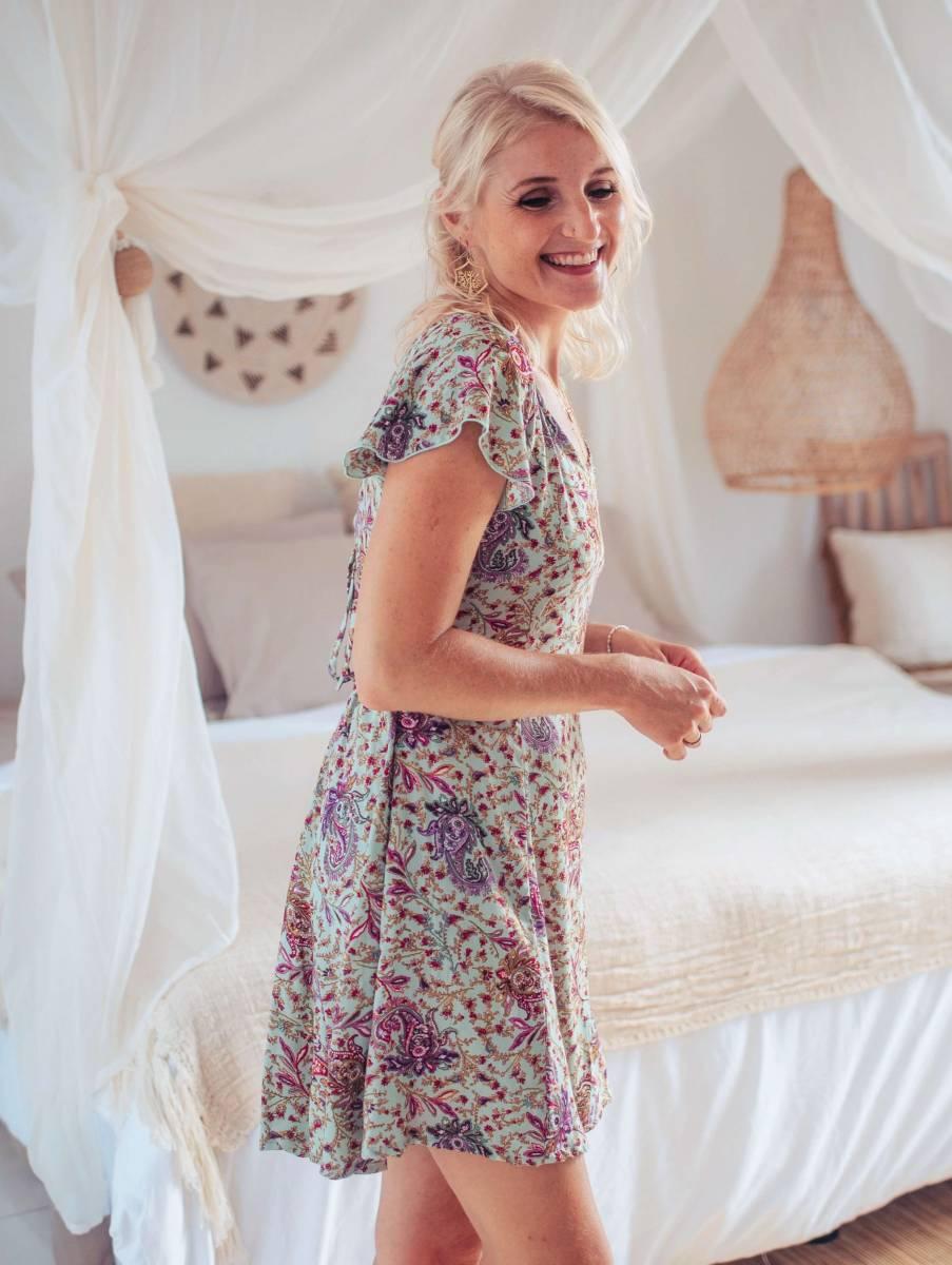 SommerKleid kurz Boho Style Mintgrün Boteh Muster Schmetterlingsflügel