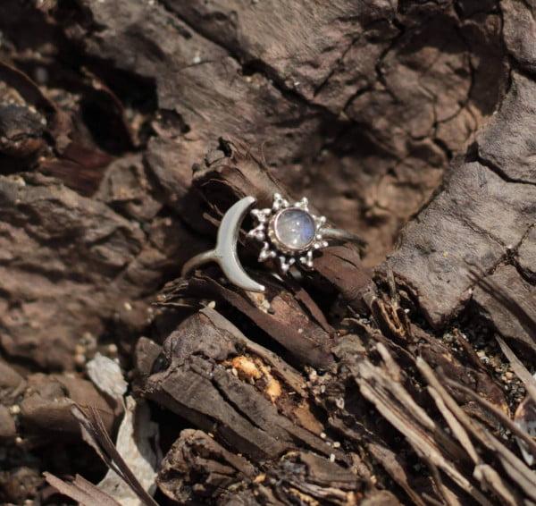 Boho Silber 925 Sonne Mond Labradorit Bali