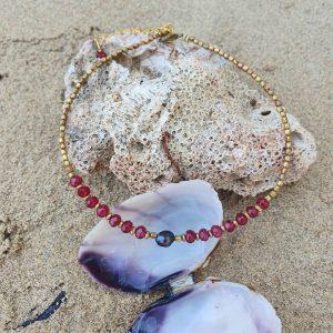 Feine Fusskette Schwarze Perle Granat Edelstein Messing Perlen Fusskette