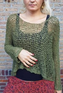 Festival Gypsy Hippie Sweater Net Sweater roughly trick olive military green