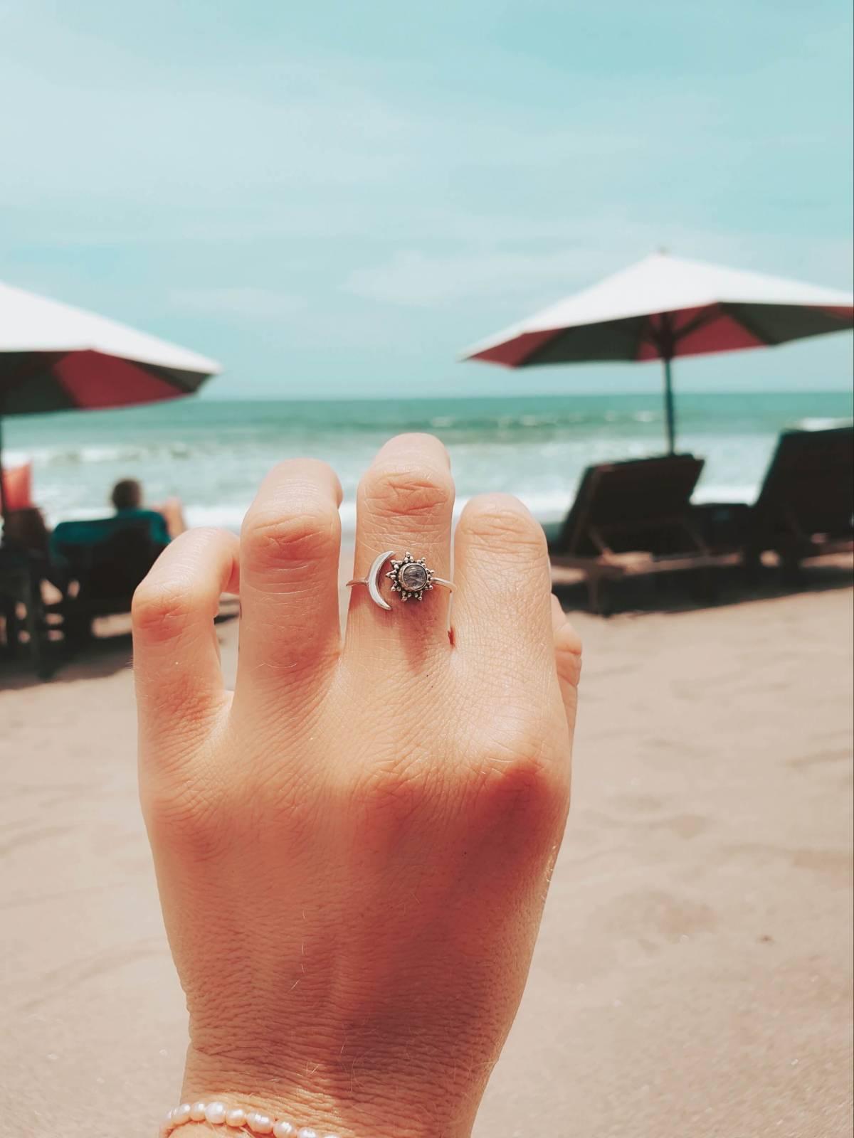 Gypsy Ring Silber 925 Sonne Halbmond Mondstein Bali Ring