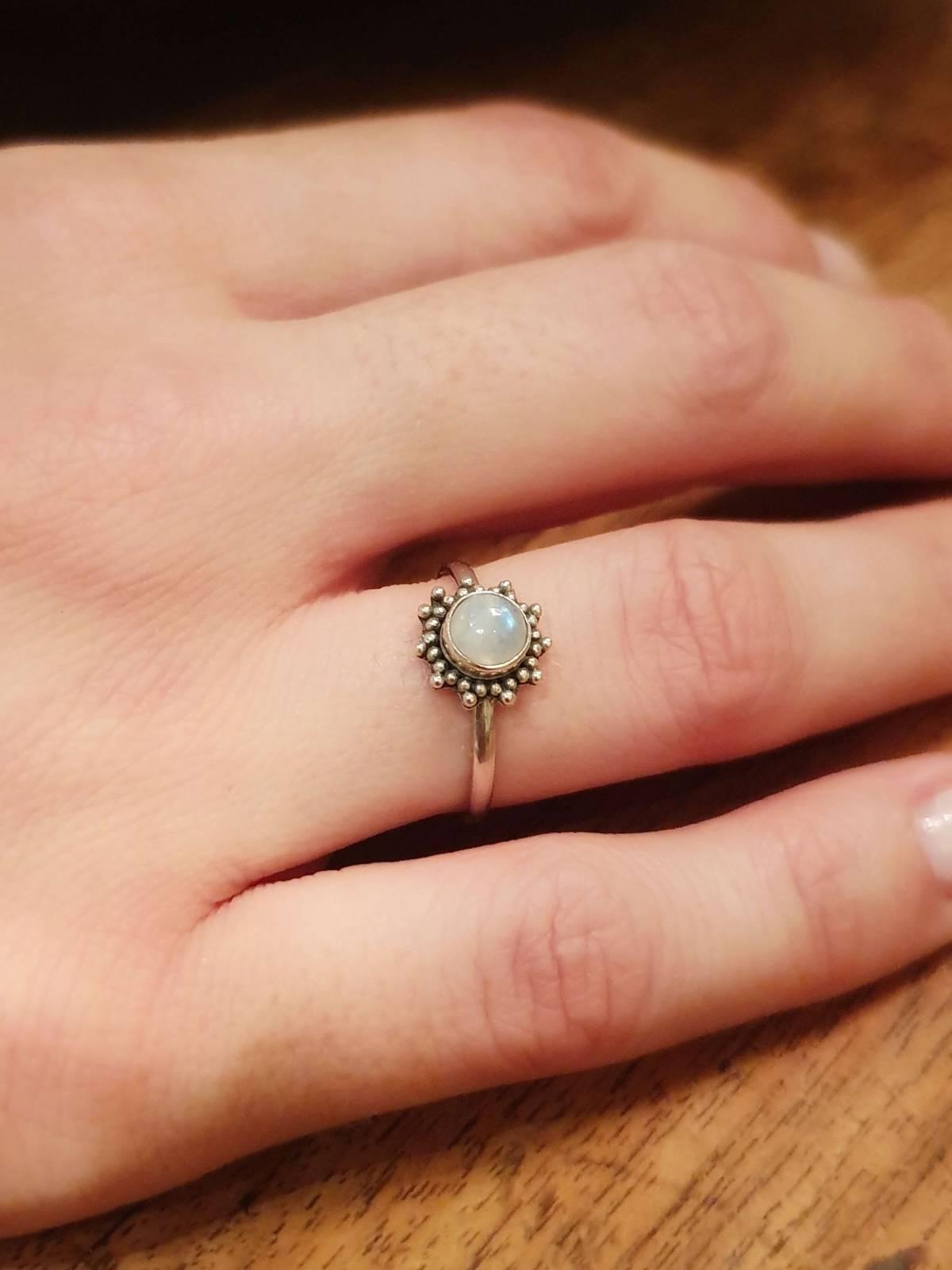 Gypsy Ring Sonne aus Silber 925 Handgefertigt in Bali Mondstein
