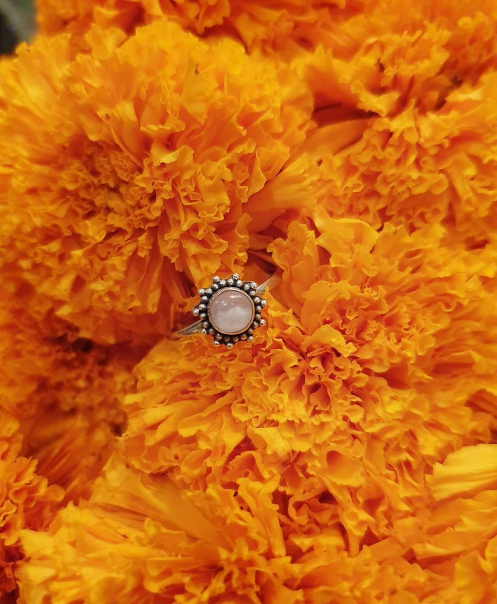 Hippie Ring fein Sonne aus Silber 925 Handgefertigt in Bali Mondstein