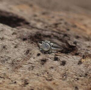 Mondstein Ring Fein Sonne 925 Silber Bali Handmade
