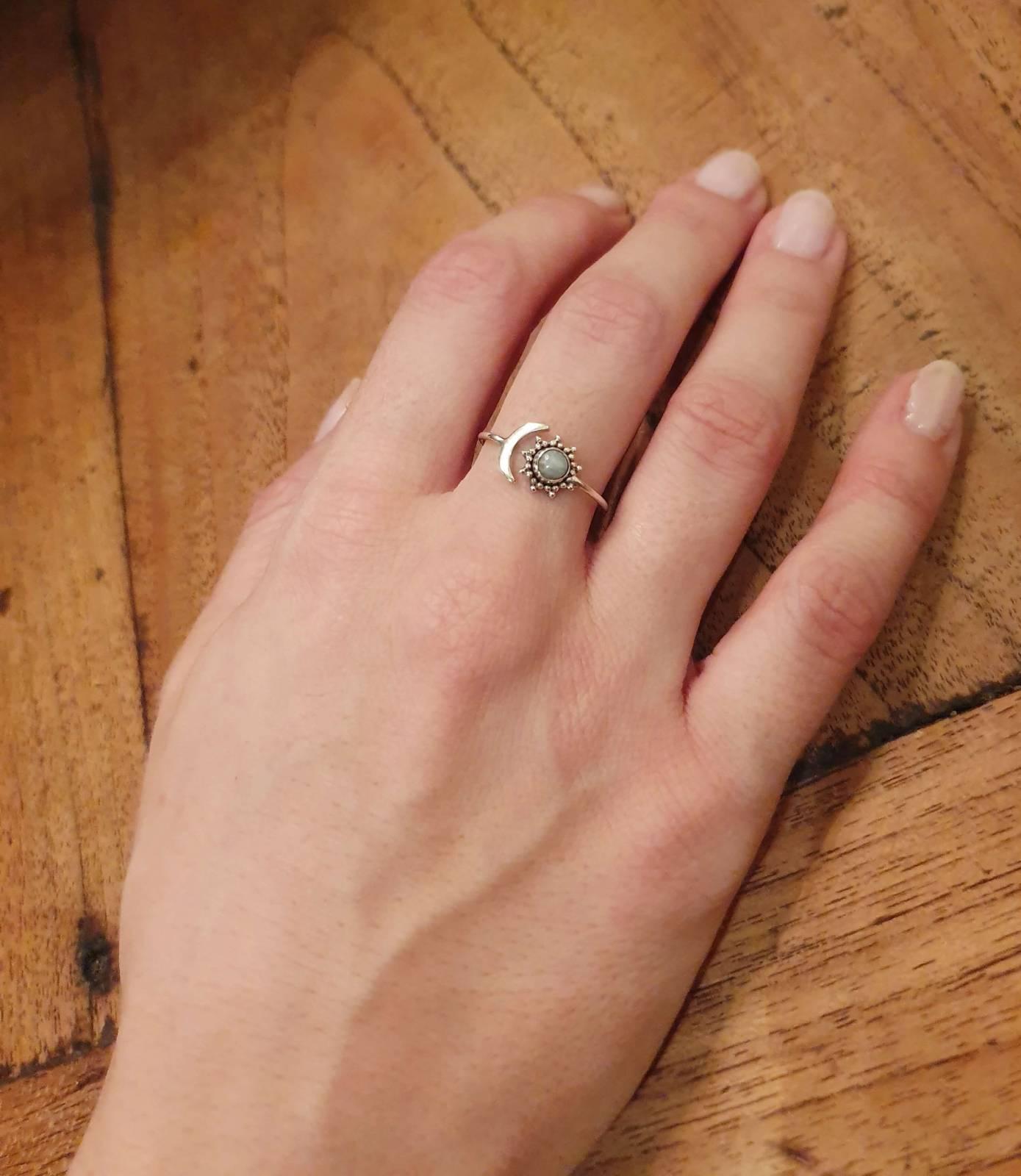 Mondstein Ring Sterling Silber 925 Sonne Mond