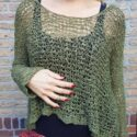 Poho Hippie Summer Sweater Olive Army Green Crochet Knit Sweater
