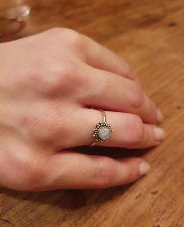 Ring Sonnenform 925 Silber made in Bali Mondstein