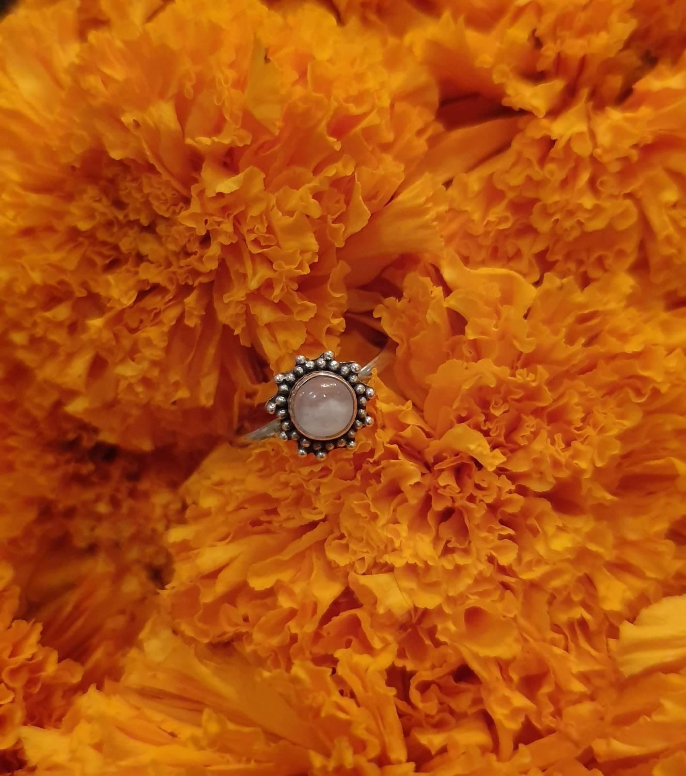 """Boho Mondstein Ring Silber 925 """"Sonne"""""""