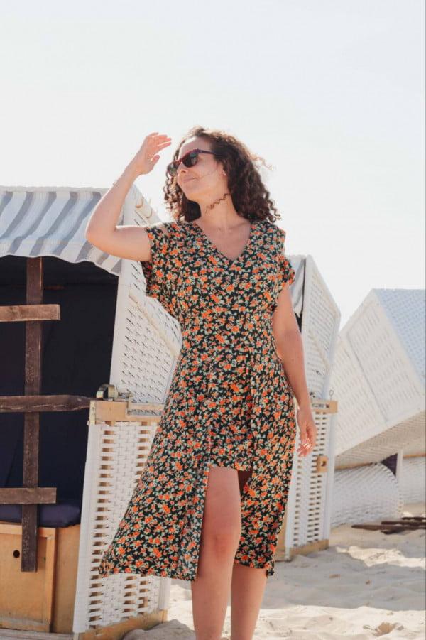 Boho Blumenkleid Asymmetrisch Boho Strand Outfit