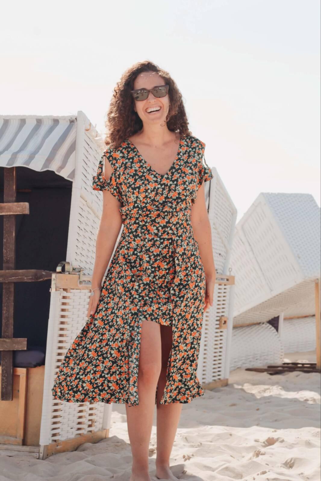 Boho Blumenkleid Asymmetrisch Cut Out Kleid