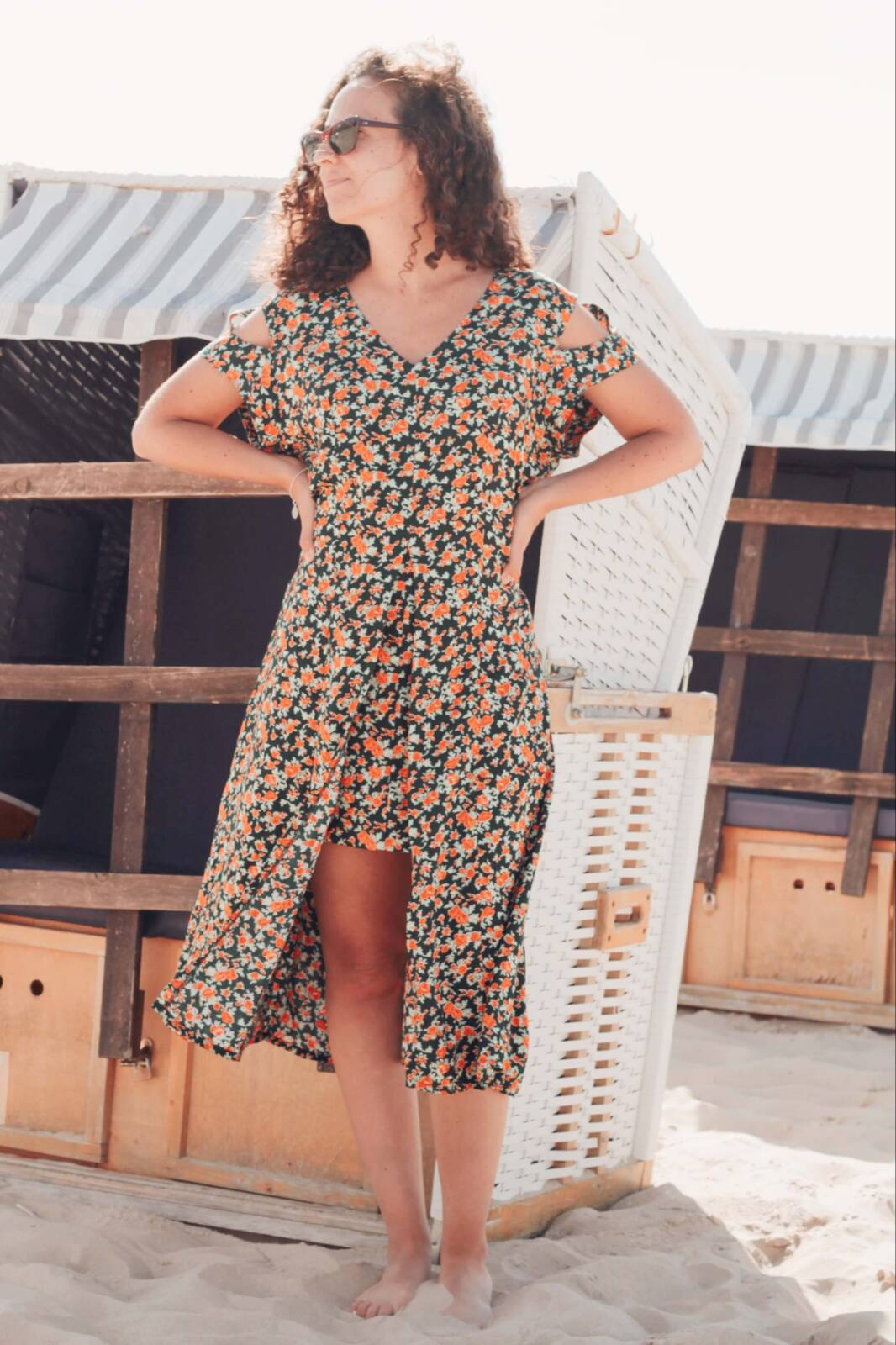 Boho Blumenkleid Asymmetrisch Ibiza Kleid