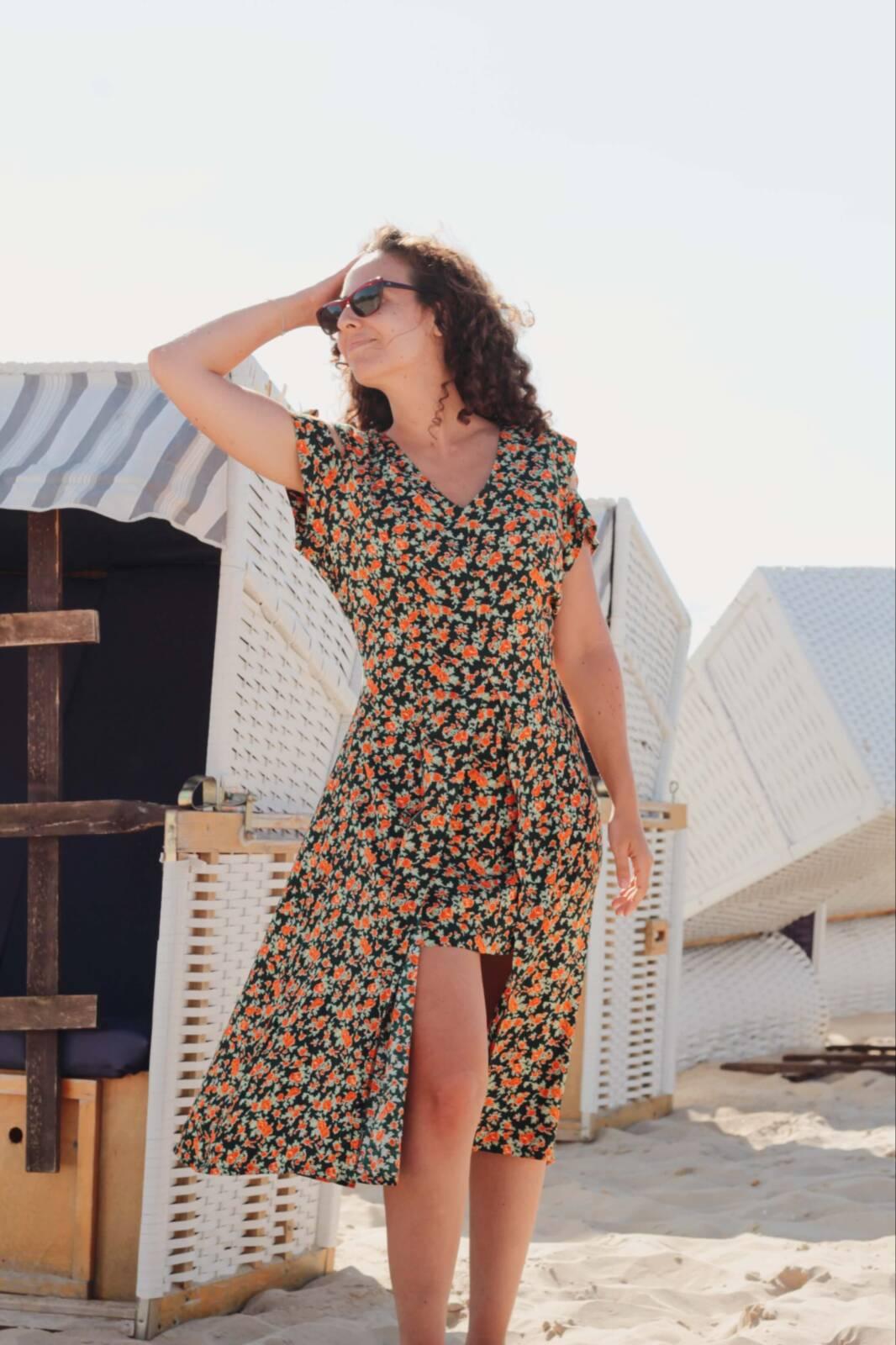 damen italy moda kleid flower rosen motiv sommer volant