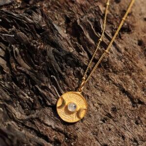 Dreifach Mond Göttin Halskette Boho Mond Halskette Mondstein Silber Vergoldet Witchy Halskette
