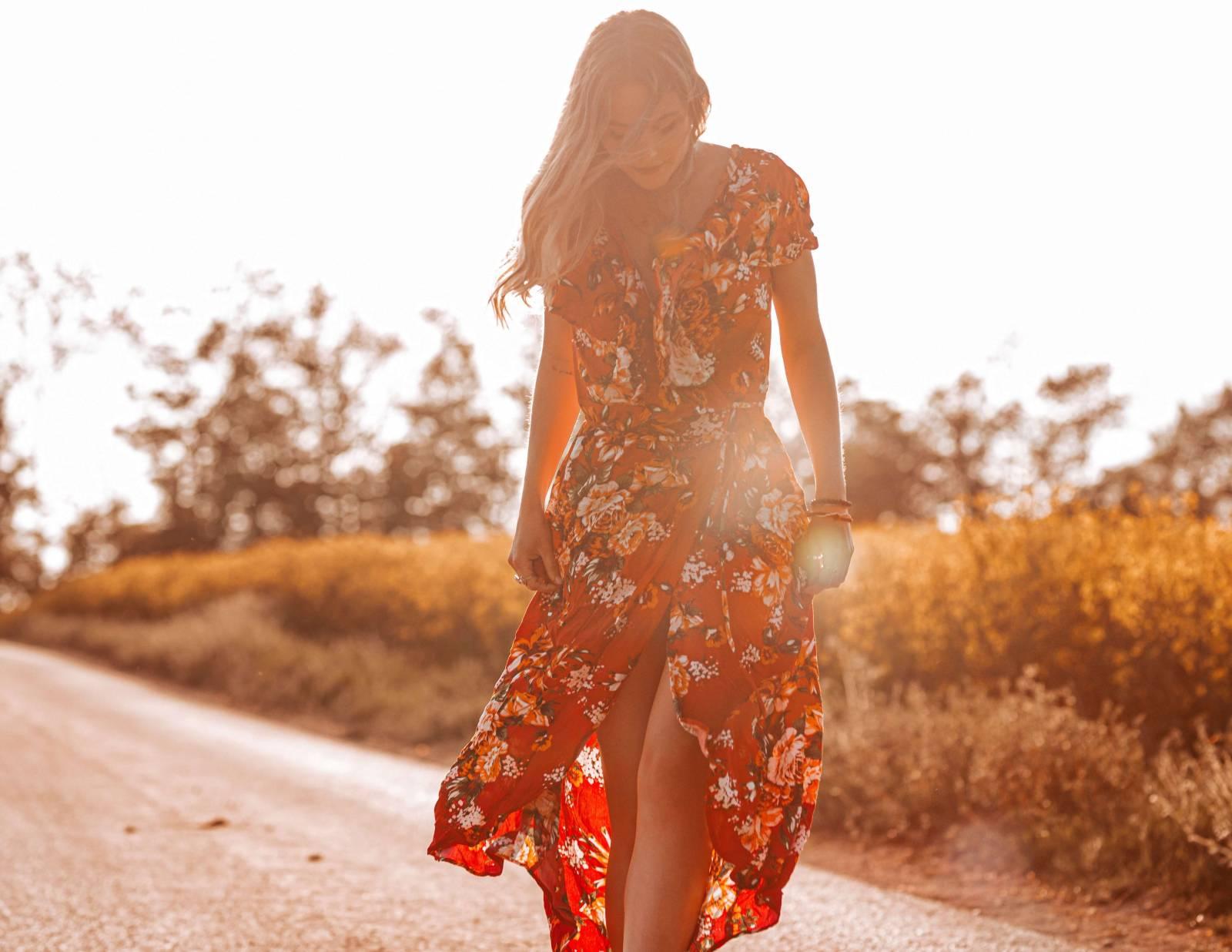 Ibiza Style Kleidung Blumen Kleid Boho Chic