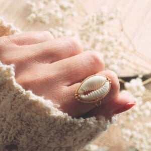 Shell Ring 925 Silver Gold Plated Made in Bali - Cowrie Ring Silver from Bali
