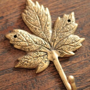 Wall hook maple leaf brass