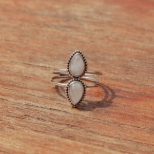 Boho Ring Moonstone Hippie Style Made in Bali teardrop Bohemian Style Jewelry