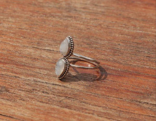 Boho Ring Mondstein Hippie Style Made in Bali Tränenform Hippie Ring Schmuck