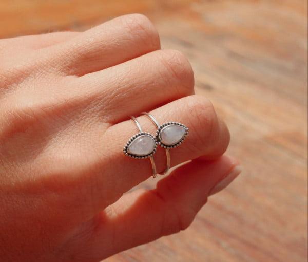 Hippie Ring 925 Silber Mondstein Hippie Style Made in Bali Tränenform Boho Style