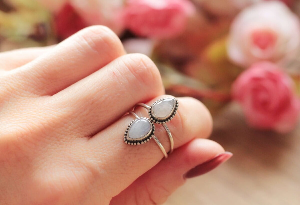 Mondstein Ring Tropfen-Förmig Statement Ring Silber Bohemian Style