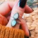 Mondstein Ring Tropfen-Förmig Statement Ring Silber Bohemian Style (7)