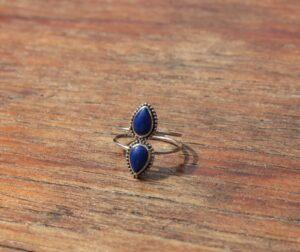 Silber Ring 925 Lapislazuli Handgefertigt in Bali