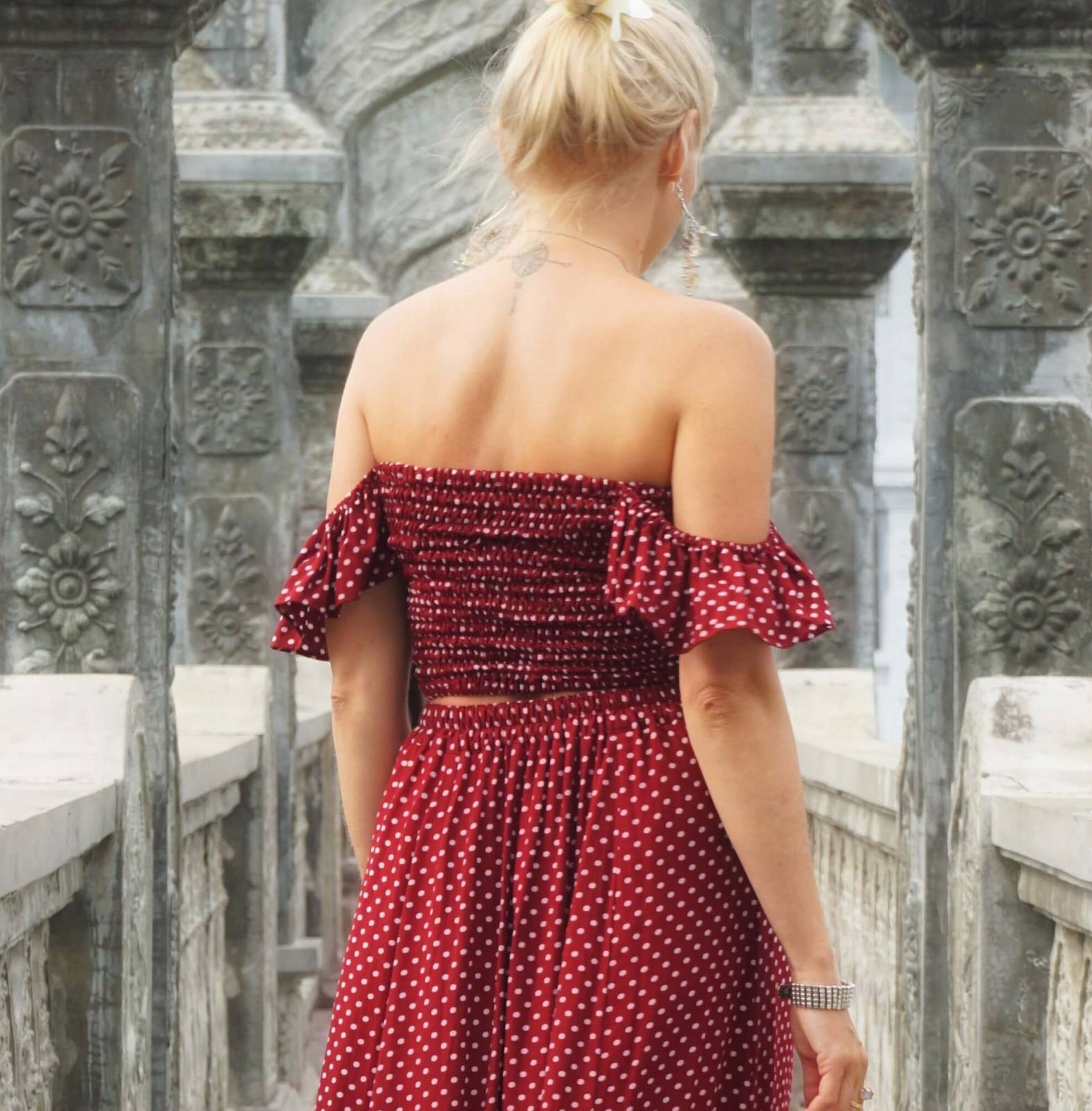 "off shoulder top polka dot red ""once upon a time"" - weltentänzer berlin"