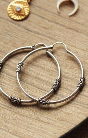 Bali Creolen Ohrringe mittel gross Verzierung 925 Silber Boho Ohrringe Boh und Hippie Schmuck Silber