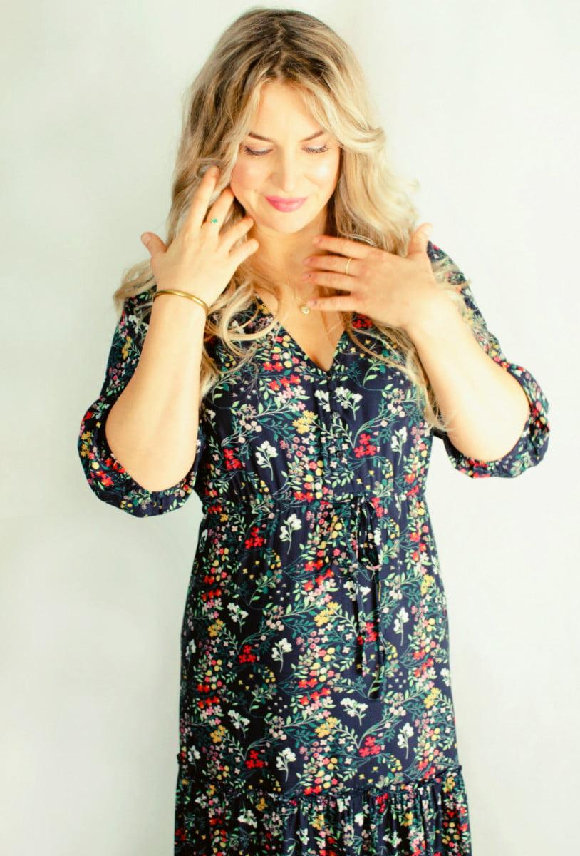 Bohemian Kleid Blumen Boho Hippie Herbst Winter Outfit Jeden Tag