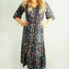 Bohemian Kleid Blumen Boho Hippie Herbst Winter Outfit Midi Kleid