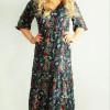 Bohemian Kleid Blumen Boho Hippie Herbst Winter Outfit Unterm Knie