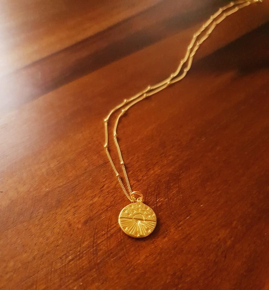 Boho Halskette Medaillon Vergoldet 925 Silber Himmelskörper