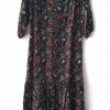 Boho Kleid Schwarz Blumenmuster Herbst Winter Bohemian Outfit