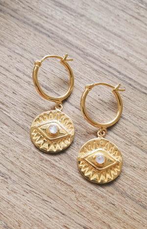 Boho Ohrringe Creolen Ohrringe Münz Anhänger Allsehendes Auge Mondstein