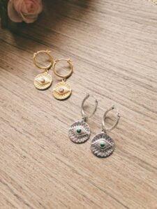 Boho Ohrringe Creolen Ohrringe Münz Anhänger Auge Mondstein Hergestellt in Bali