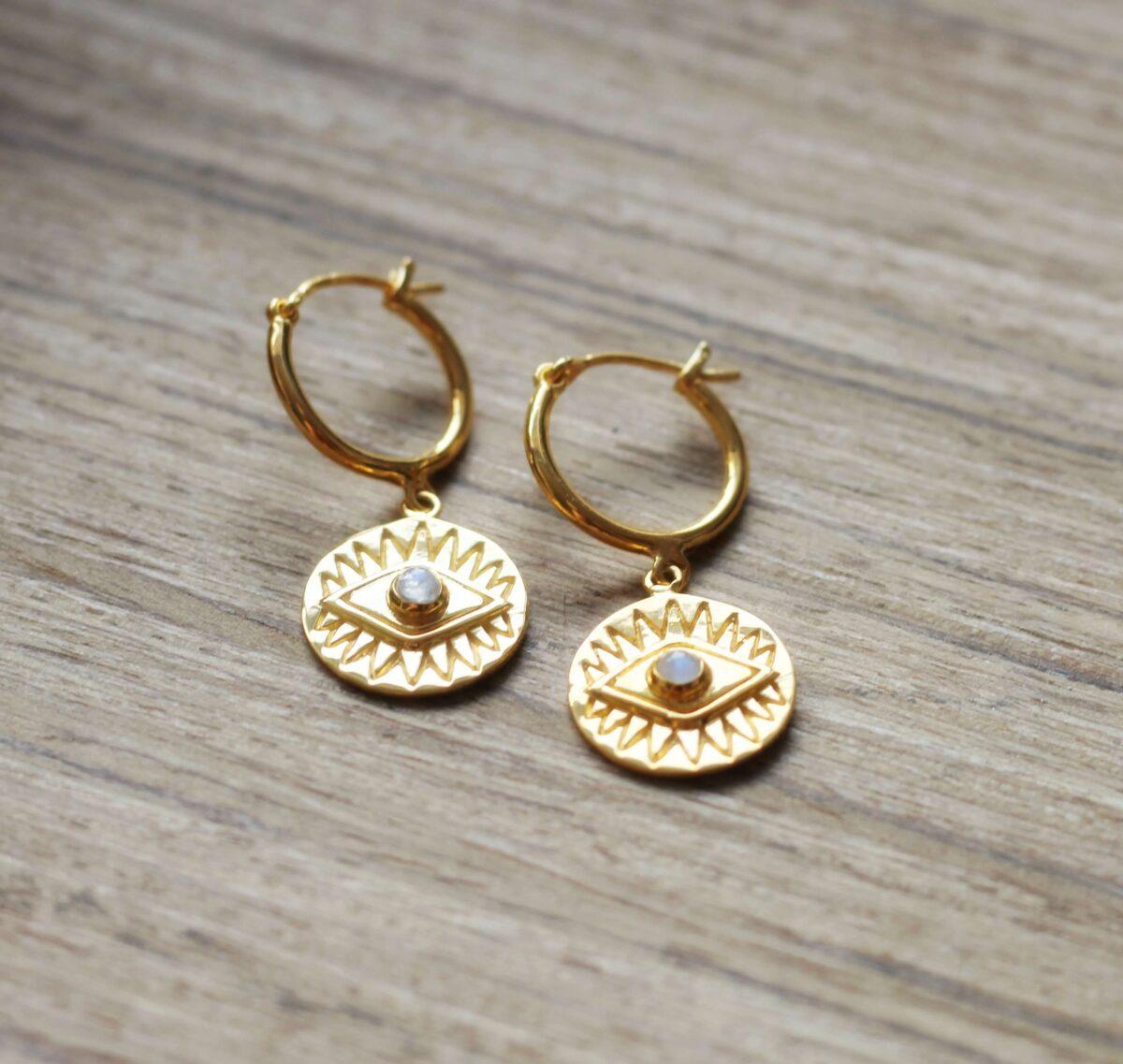 Boho Ohrringe Creolen Ohrringe Münz Anhänger Schützendes Auge Mondstein