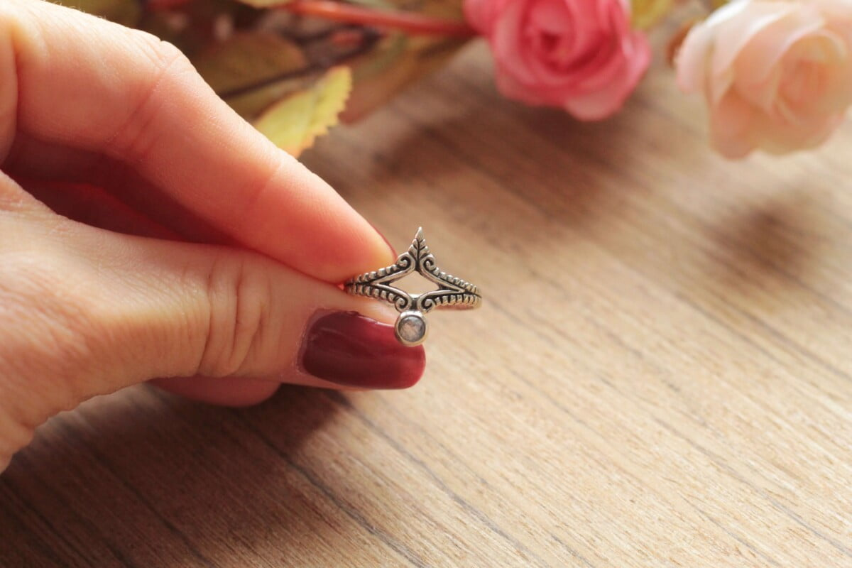 Boho Statement Ring Mondstein Ring 925 Silber Handgefertigt in Bali Boho Silber Schmuck Damen Witchy Schmuck